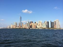 Manhattan skyline as seen from the Liberty island ferry , Gabriel G - September 2014
