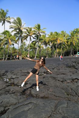 Punalu'u black sand beach , Celine - January 2014