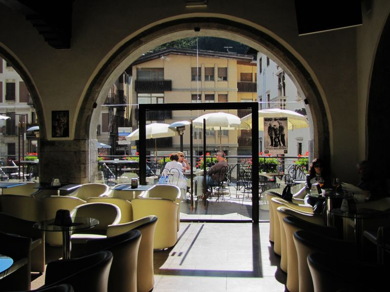 Taken from inside the Gran Caffe Tiziano Coffee Bar - Venice