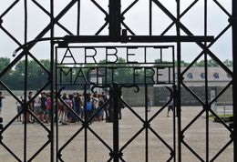 The gate entering Dachau.Work Sets You Free. Words cannot describe this Memorial. , Jon P - July 2015