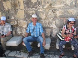 Sitting in the public latrines of Beit She'an Park, Roman-Byzanti City , Clyde C - October 2017