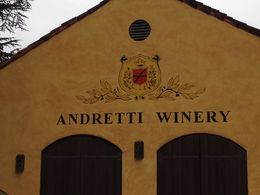 Andretti Winery tasting room entrance, Trina Tron - December 2014