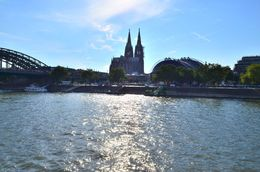 The sun's reflection on the rhine river points towards the cathedral of Cologne. , David Lally - September 2015