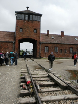Main train gate in to Auschwitz II/Birkenau. If you've seen the movie Schindler's list, you've seen it., JON H - June 2010