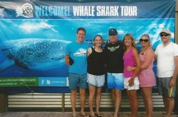 Family pose before boating out to snorkel with whale sharks , William C - July 2015