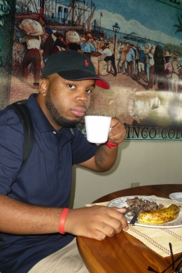 My boyfriend enjoying his breakfast atthe coffee plantation., Shaundrea M - September 2010