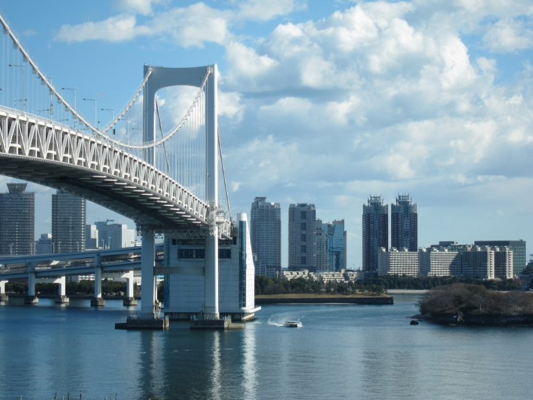 Rainbow Bridge taken from the Monorail to Odaiba - Tokyo