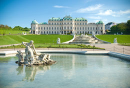 The classical Belvedere Palace building with fountains in Vienna, Austria - November 2011