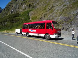 Waiting for our turn to go through the Homer Tunnel, a 1.2 kilometer tunnel through sheer rock, which was cut by hand , Ross T M - March 2012