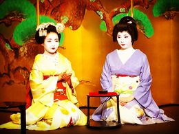 Geisha and her assistant Maiko entertain at the dinner , Jelena C - July 2016