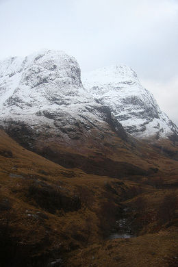 Approaching The Three Sisters. This is Beinn Fhada and Gearr Aonach which rise either side of 'The Lost Valley' - Coire Gabhail. Highlands, Scotland., Aunty_Tash - January 2011