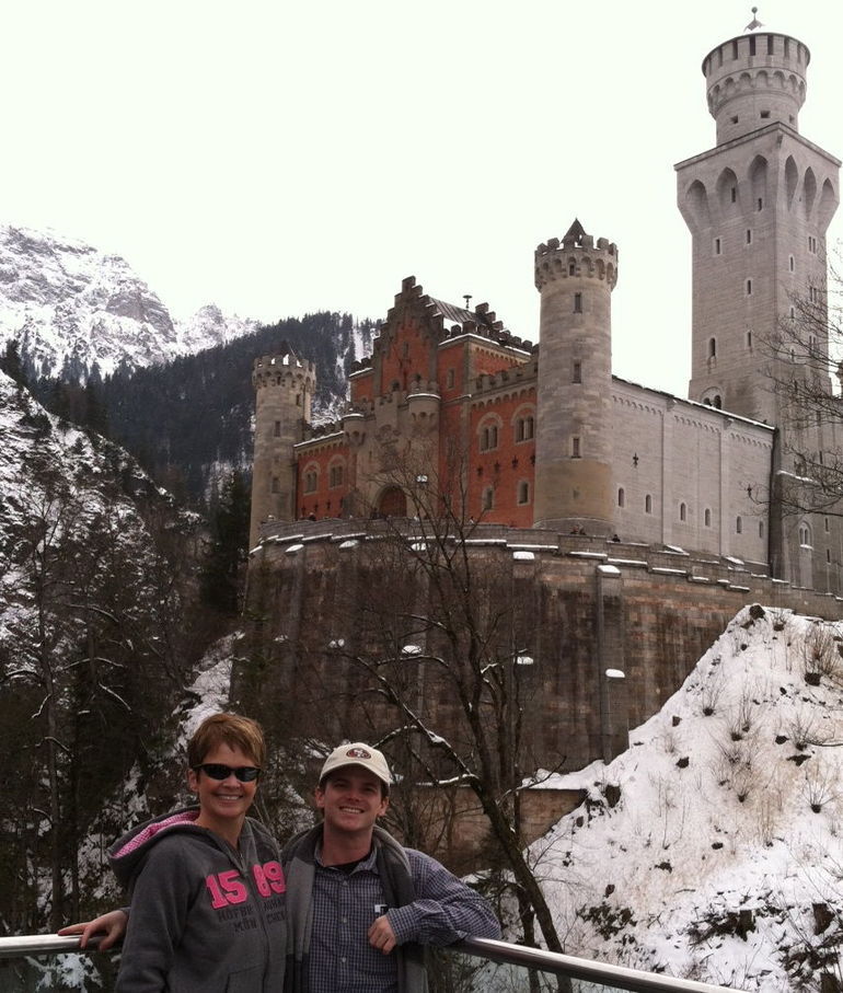 My son Sean and I at the castle - Munich