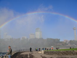 This was taken from the US side. We could see the full rainbow in front of us. (The pity was I could not get back far enough to get it on film.) We are looking across the Falls towards the ... , Gordon R - October 2012
