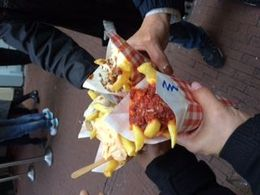 First stop was to taste some salty fries - delicious toppings! , Debra O - November 2015