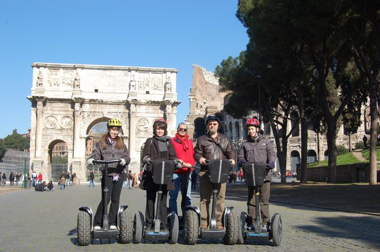 On the Segways in front of the Arch of Constantine - Rome
