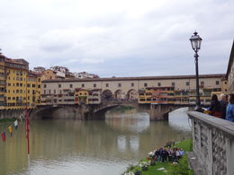 Famous bridge across the river Arno and Santa Croce. shot during guided city walking tour. , veena - July 2013