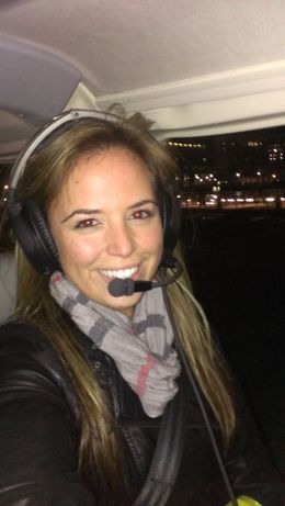 Danielle ready for helicopter take off. , Danielle M - November 2013