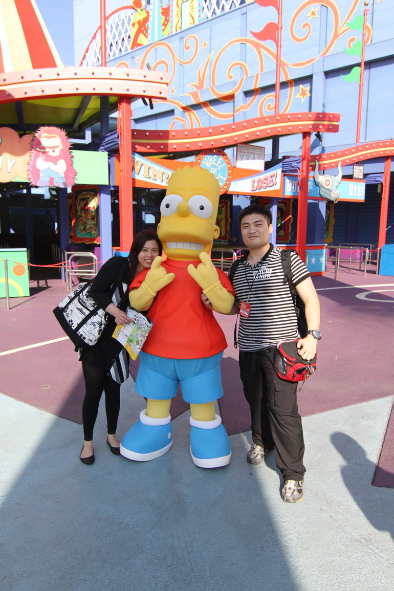 With Bart at the Simpsons Ride - Los Angeles