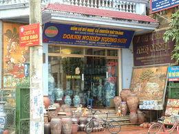 Visiting a ceramic shop in Bat Trang. , Elizabeth V - April 2014