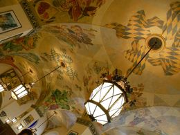 Ceiling design of Hofbrau Haus camouflaging original swastikas , Suzanne T - September 2015