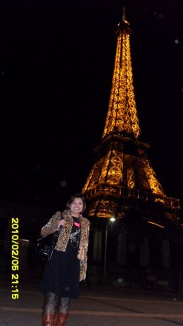 Night beauty of Eiffel and myself :P. It was taken on the dock., Tin Zar W - February 2010
