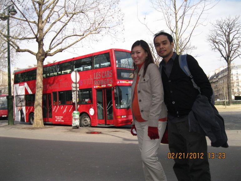 at the Trocadero Bus Stop - Paris