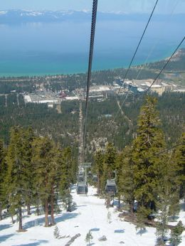 Riding up the gondola -- fantastic views of Lake Tahoe , Leah - May 2011