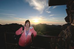 Kim Hunker after the sun had risen at Haleakala volcano , Kimberly H - July 2013