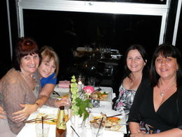 julie.karen.carol and tami,enjoying dinner , Carol D - May 2011