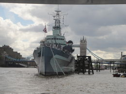 HMS Belfast and Tower Bridge , Victoria S - July 2012