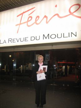 Grandma leaving the Feerie show at the Moulin Rouge - April 2008