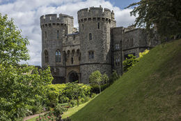 The Norman Gate, built by Edward III and remodelled in the 19th century. , Richard W - July 2014