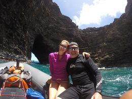 David and daughter, Courtney on June, 2016 zodiac tour of Na Pali coast, Kauai , david d - June 2016