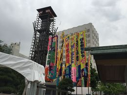 Banners of the sumo wrestlers , asahione - June 2015