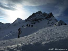 when arrive at the Jungfraujoch, there is an area where you can step out into the cold and enjoy the spectacular of the alps surrounding the Jungfraujoch , Han Pin K - December 2014