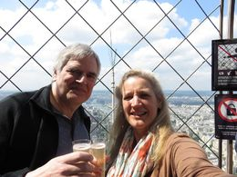 Bill and Rachel toasting with champagne at the top of the Eiffel Tower , Rachel B - June 2015