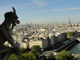 One of the many gargoles watching out from Notre Dame, over the city of Paris. , Trina S - October 2012