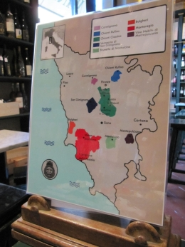This is a map of the different wine regions in Italy. The guide used it to explain the differences between the regions., Joseph S - June 2010