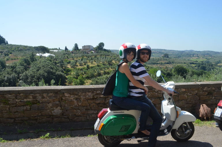 My wife and I in the Tuscan countryside on a Vespa! -