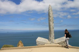 The view from the stop at Pointe du Hoc, looking at the Ranger monument. , Donald T - July 2016