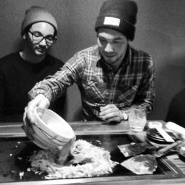 This is a photo of my brother and I on our last night in Japan preparing Monjayaki on the Tokyo by Night Japanese Food Tour. Such a great time! , Matthew R - January 2014