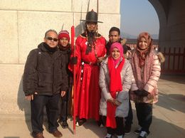 The whole family after watching the royal guard changing ceremony , Samsiah A - January 2014