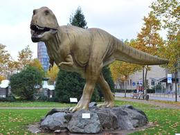 A staged dinosaur at the entrance to the museum. , David Lally - November 2014
