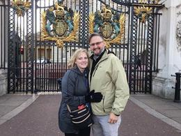 My husband and I in front of Buckingham Palace. , Karen W - March 2017