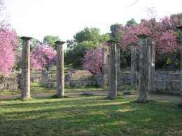 Walking around the archaeological site of ancient Olympia - May 2010