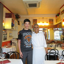 My grandson with the owner of his favorite Italian Restaurant. , Deborah Y - July 2015