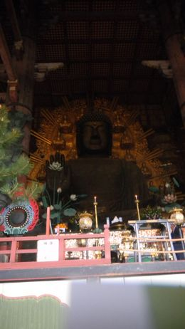 Here is a very big Buddah inside a temple at Nara park, this was a great tour., Martha W - April 2010