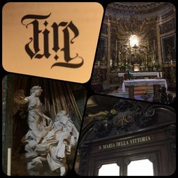 Eld - Tredje besöket blev kyrkan Santa Maria della Vittoria där vi fick titta på Berninis skulptur Teresas extas , Maria NÖ - September 2015