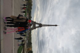 The family together in front of Eiffel Tower on the second day of our visit - 23rd. April. , Shelly - May 2016