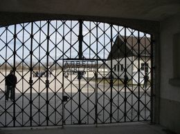 "The gates carrying the ironic message ""Work sets you free""., Almero S - April 2010"